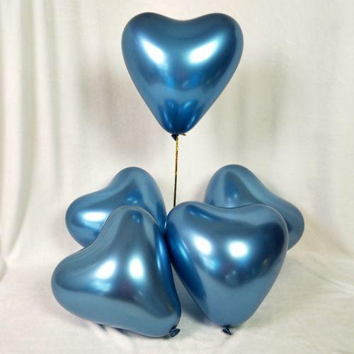 Сердца синий хром (30 см)