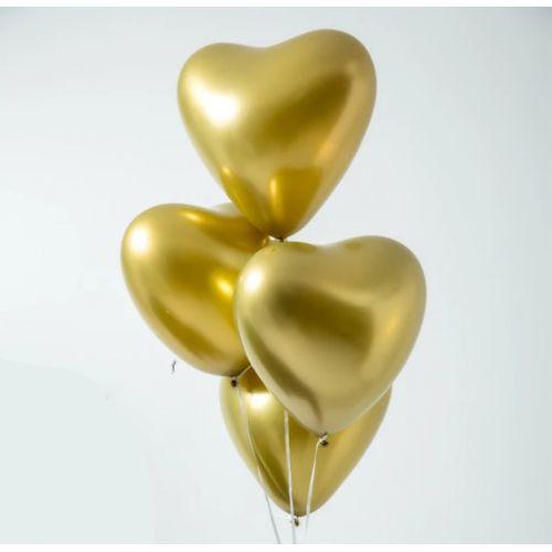 Сердце золото хром (30 см)