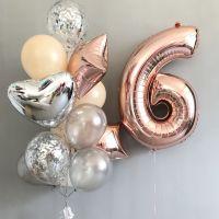 Набор шаров розовое золото и цифра 6