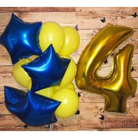 Набор сине-жёлтых шаров и цифра 4