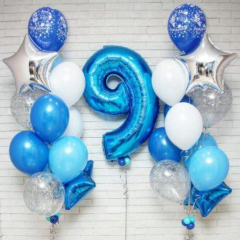 Набор голубых шаров и цифра 9