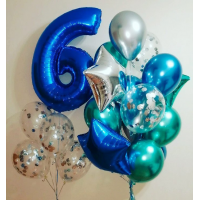 "Набор шаров ""Синий хром и цифра 6"""