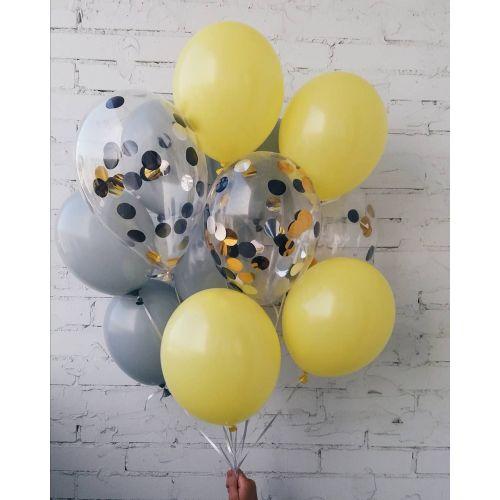 Набор нежно жёлтых, серых и шаров с конфетти