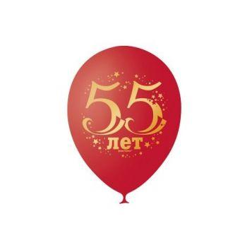 """Шарики """"Юбилей цифра 55, cherry red"""" (цена за шар)"""