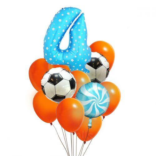 Голубая цифра и шарики в стиле футбол мальчику