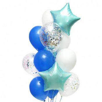 Набор синих, бирюзовых и белых шаров