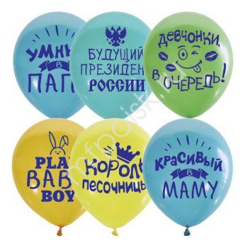 "Шары ""Хвалебные"" для мальчиков - цена за шар"