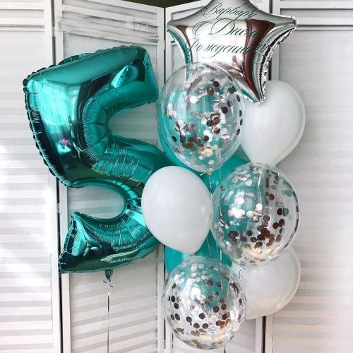 Заказать наклейку шаров с надписью на день рождения