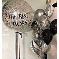 """Набор шаров в офис """"Лучший босс, серебро"""""""