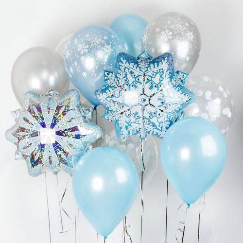 купить связку шариков со снежинками в бело-голубых тонах