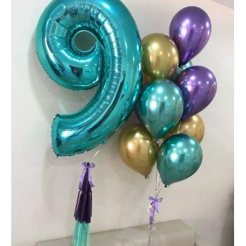 Набор хромовых шаров и цифра 9
