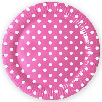 Тарелки Точки, Розовый, 9 дюймов, 6 шт