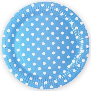 Тарелки Точки, Голубой, 9 дюймов, 6 шт