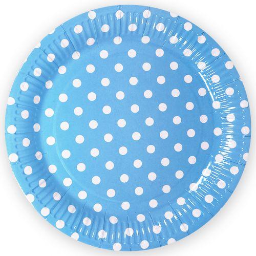 Упаковка из 6 тарелок голубого цвета в белую точку. Доставка и гарантия качества круглосуточно