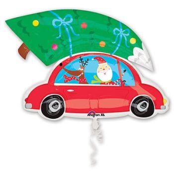 """Шар фольгированный """"Санта на машине"""" (86 см)"""