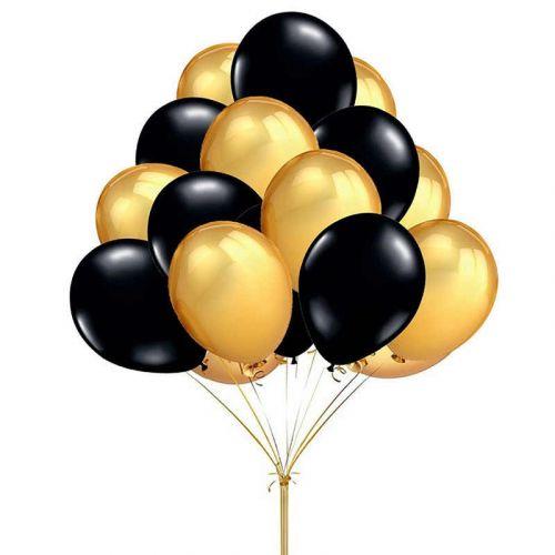 Купить чёрно-золотистые шары - быстрая доставка